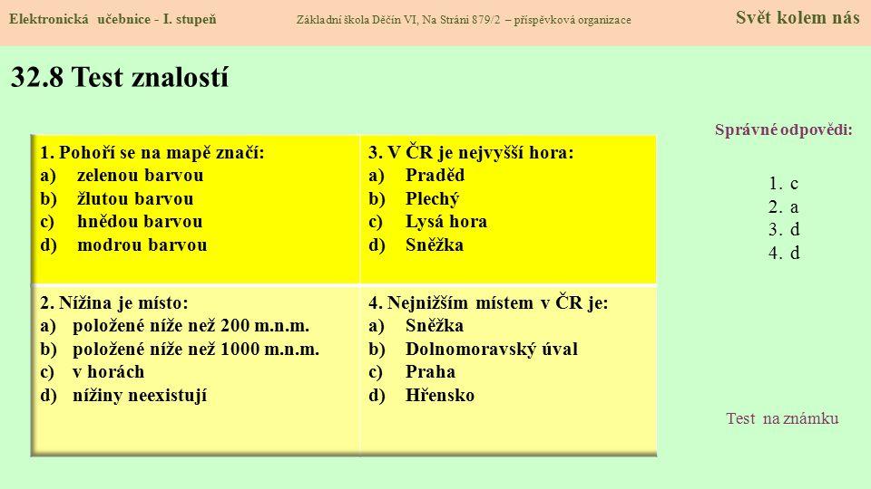 32.8 Test znalostí Správné odpovědi: 1.c 2.a 3.d 4.d Test na známku Elektronická učebnice - I. stupeň Základní škola Děčín VI, Na Stráni 879/2 – přísp
