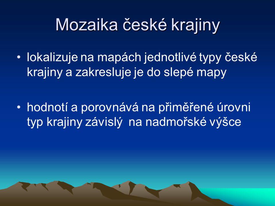 Mozaika české krajiny lokalizuje na mapách jednotlivé typy české krajiny a zakresluje je do slepé mapy hodnotí a porovnává na přiměřené úrovni typ kra