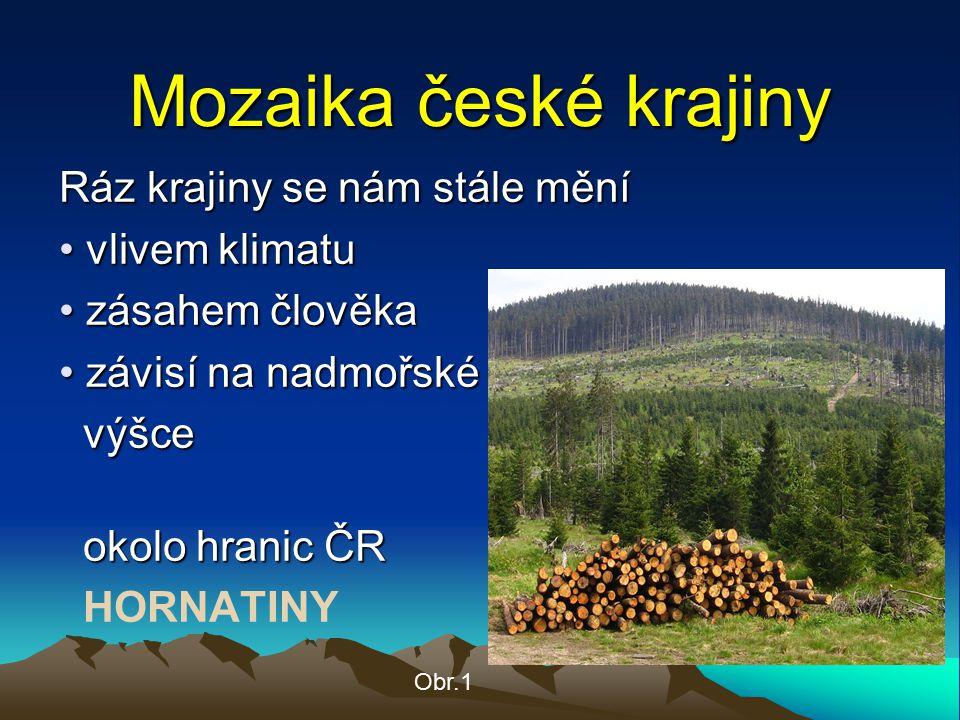 Mozaika české krajiny Ráz krajiny se nám stále mění vlivem klimatu vlivem klimatu zásahem člověka zásahem člověka závisí na nadmořské závisí na nadmoř