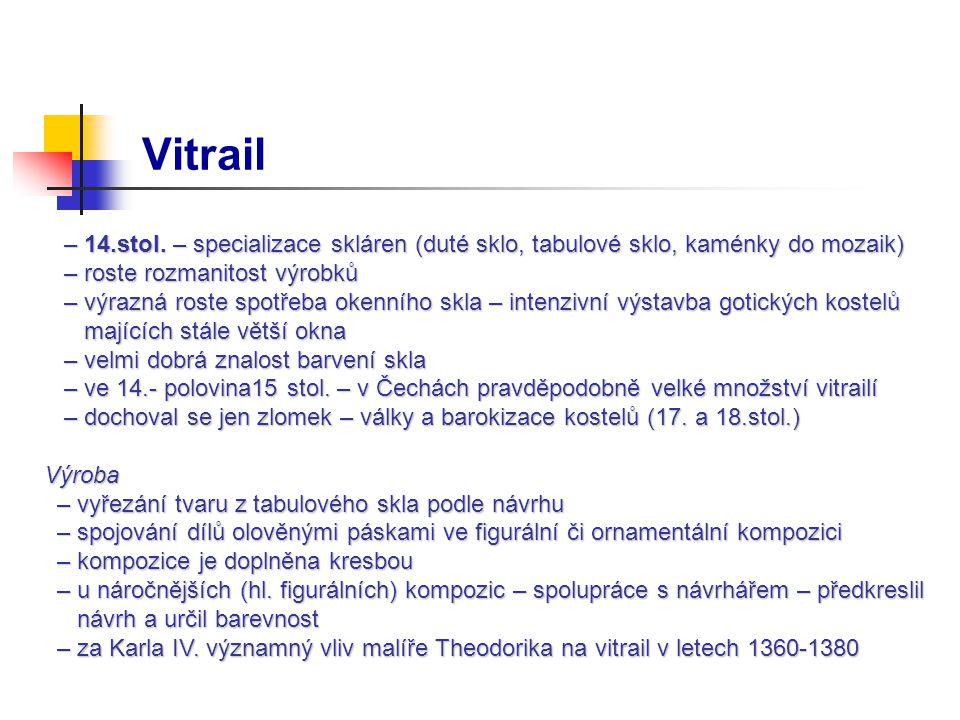 Vitrail – 14.stol.– specializace skláren (duté sklo, tabulové sklo, kaménky do mozaik) – 14.stol.