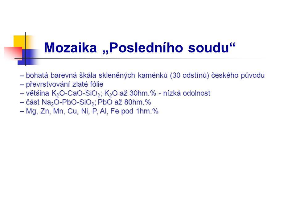 """Mozaika """"Posledního soudu – bohatá barevná škála skleněných kaménků (30 odstínů) českého původu – bohatá barevná škála skleněných kaménků (30 odstínů) českého původu – převrstvování zlaté fólie – převrstvování zlaté fólie – většina K 2 O-CaO-SiO 2 ; K 2 O až 30hm.% - nízká odolnost – většina K 2 O-CaO-SiO 2 ; K 2 O až 30hm.% - nízká odolnost – část Na 2 O-PbO-SiO 2 ; PbO až 80hm.% – část Na 2 O-PbO-SiO 2 ; PbO až 80hm.% – Mg, Zn, Mn, Cu, Ni, P, Al, Fe pod 1hm.% – Mg, Zn, Mn, Cu, Ni, P, Al, Fe pod 1hm.%"""