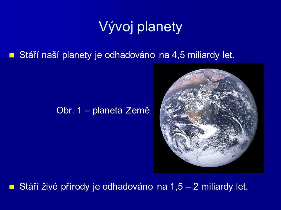 Vývoj planety Stáří naší planety je odhadováno na 4,5 miliardy let. Obr. 1 – planeta Země Stáří živé přírody je odhadováno na 1,5 – 2 miliardy let.