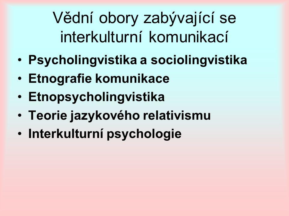 Vědní obory zabývající se interkulturní komunikací Psycholingvistika a sociolingvistika Etnografie komunikace Etnopsycholingvistika Teorie jazykového