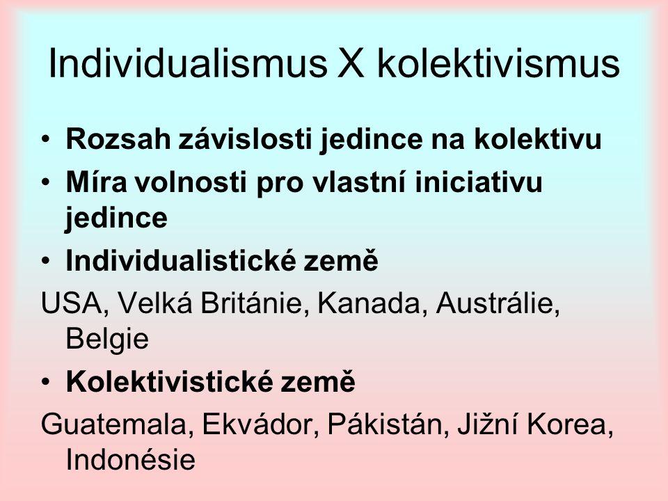 Individualismus X kolektivismus Rozsah závislosti jedince na kolektivu Míra volnosti pro vlastní iniciativu jedince Individualistické země USA, Velká