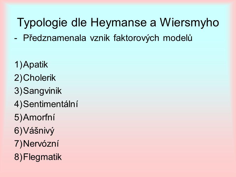 Typologie dle Heymanse a Wiersmyho -Předznamenala vznik faktorových modelů 1)Apatik 2)Cholerik 3)Sangvinik 4)Sentimentální 5)Amorfní 6)Vášnivý 7)Nervózní 8)Flegmatik
