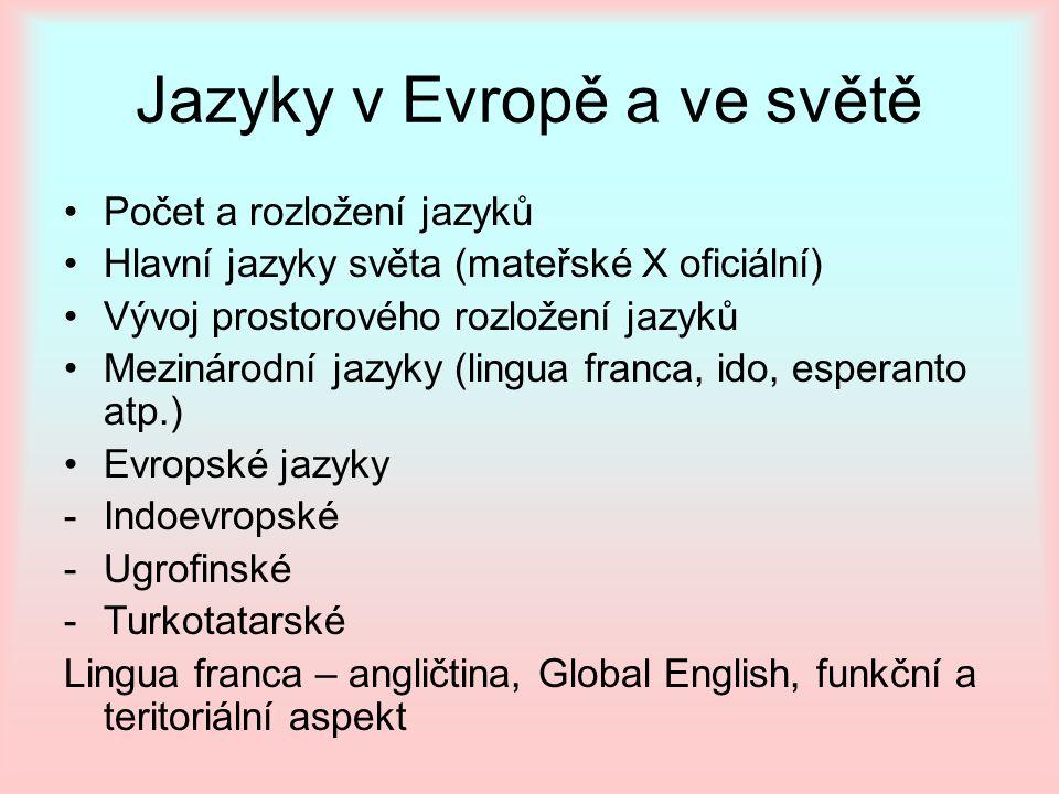 Jazyky v Evropě a ve světě Počet a rozložení jazyků Hlavní jazyky světa (mateřské X oficiální) Vývoj prostorového rozložení jazyků Mezinárodní jazyky
