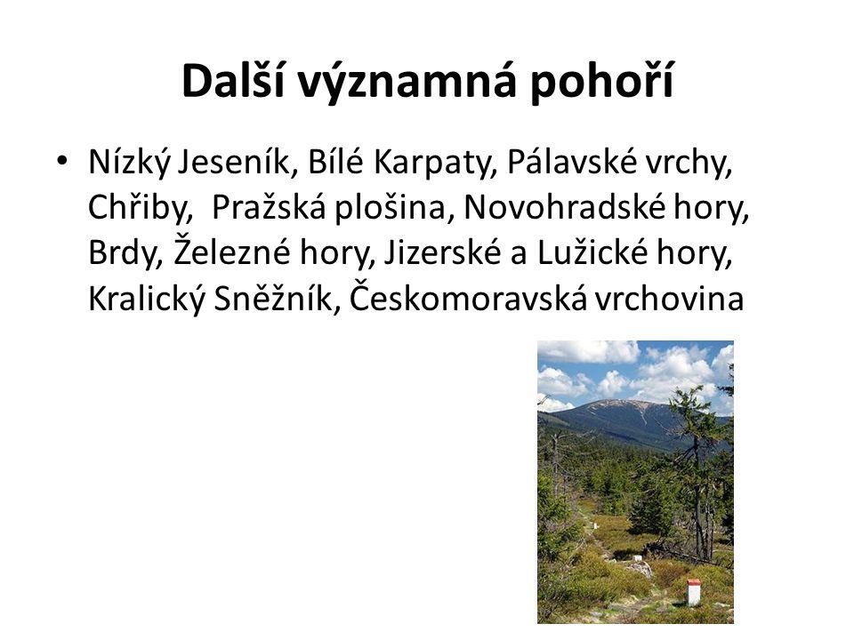 Další významná pohoří Nízký Jeseník, Bílé Karpaty, Pálavské vrchy, Chřiby, Pražská plošina, Novohradské hory, Brdy, Železné hory, Jizerské a Lužické h