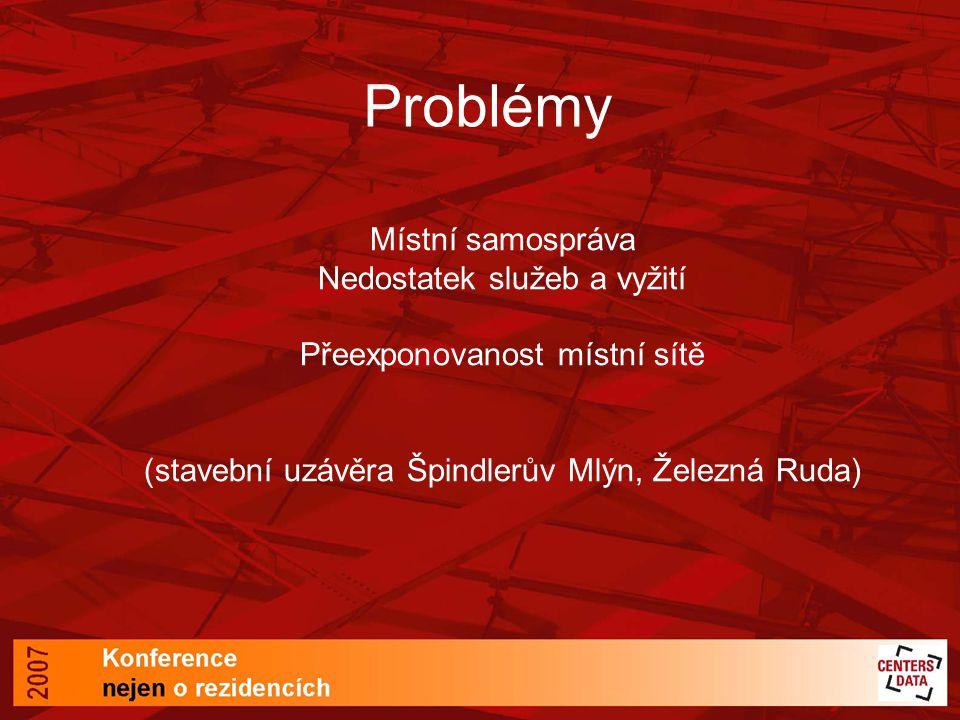 Problémy Místní samospráva Nedostatek služeb a vyžití Přeexponovanost místní sítě (stavební uzávěra Špindlerův Mlýn, Železná Ruda)