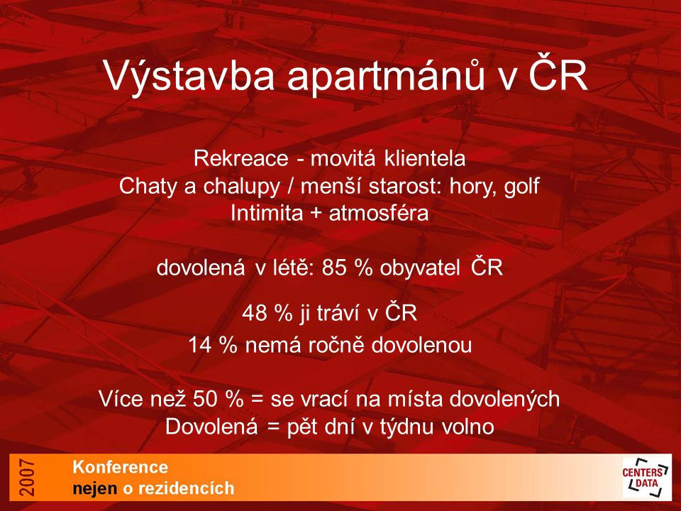 Výstavba apartmánů v ČR Rekreace - movitá klientela Chaty a chalupy / menší starost: hory, golf Intimita + atmosféra dovolená v létě: 85 % obyvatel ČR