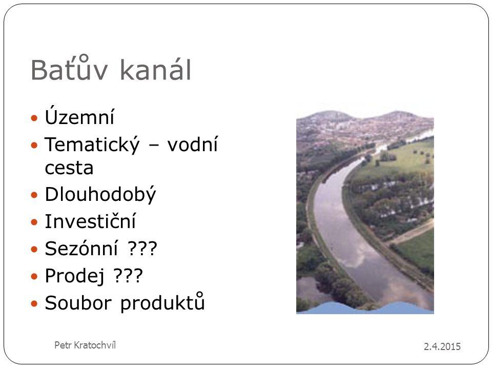 Baťův kanál Územní Tematický – vodní cesta Dlouhodobý Investiční Sezónní ??? Prodej ??? Soubor produktů 2.4.2015 Petr Kratochvíl