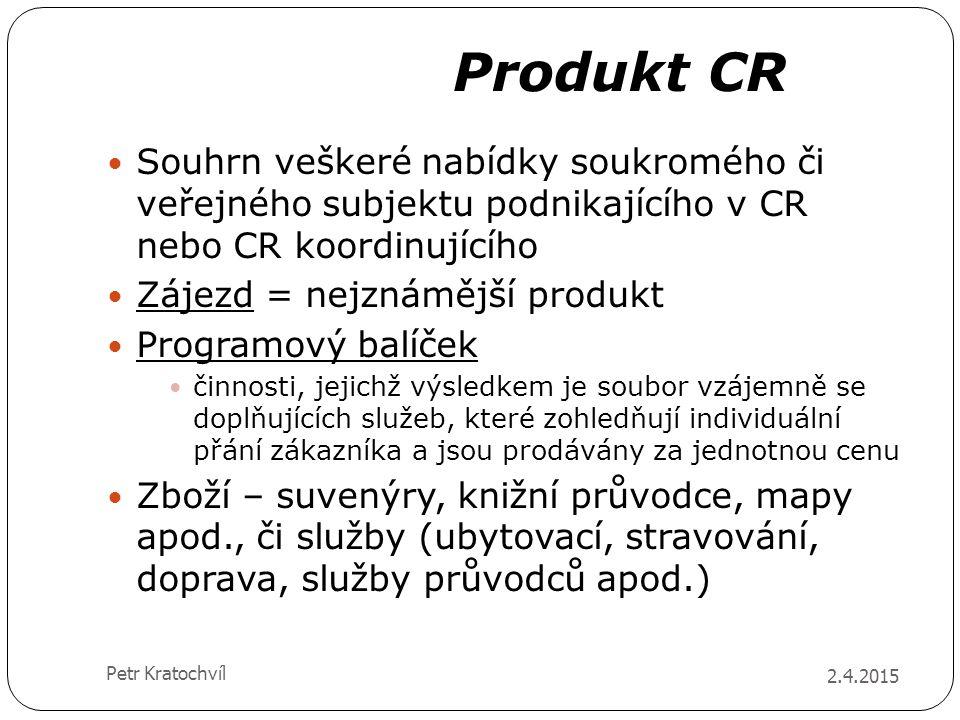 Produkt CR 2.4.2015 Petr Kratochvíl Souhrn veškeré nabídky soukromého či veřejného subjektu podnikajícího v CR nebo CR koordinujícího Zájezd = nejznám