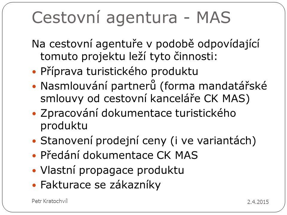Cestovní agentura - MAS Na cestovní agentuře v podobě odpovídající tomuto projektu leží tyto činnosti: Příprava turistického produktu Nasmlouvání part