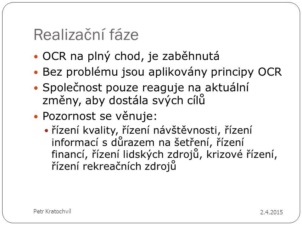 Realizační fáze OCR na plný chod, je zaběhnutá Bez problému jsou aplikovány principy OCR Společnost pouze reaguje na aktuální změny, aby dostála svých