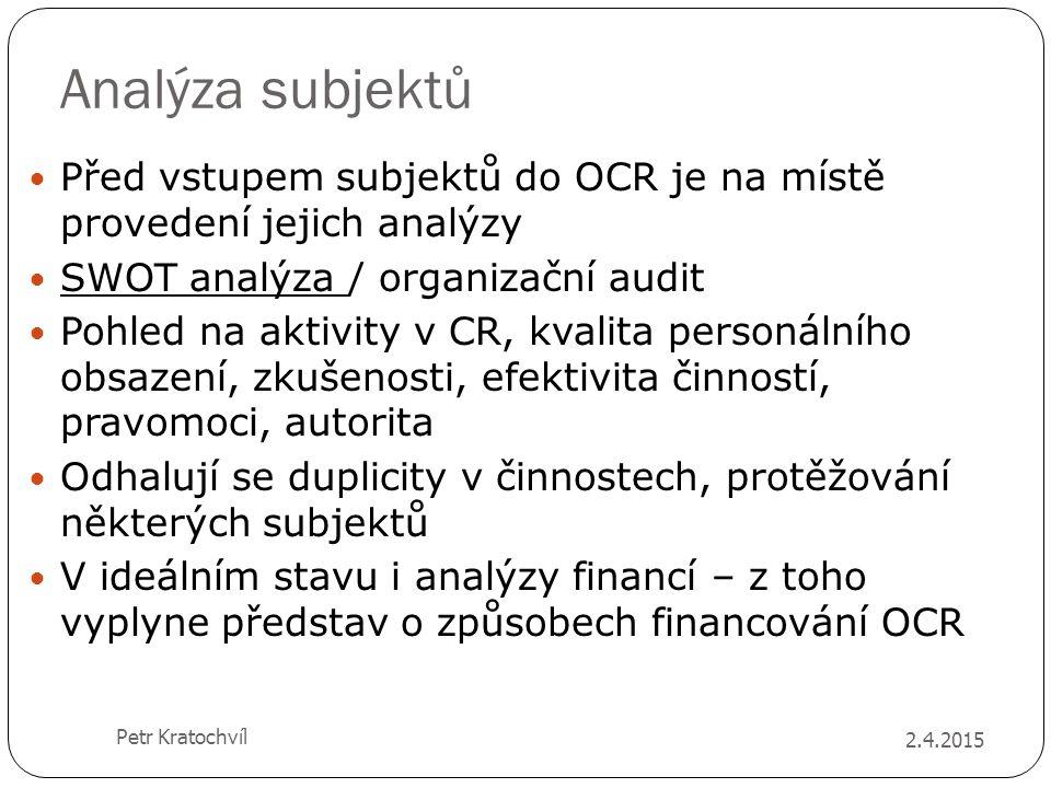 Analýza subjektů Před vstupem subjektů do OCR je na místě provedení jejich analýzy SWOT analýza / organizační audit Pohled na aktivity v CR, kvalita p
