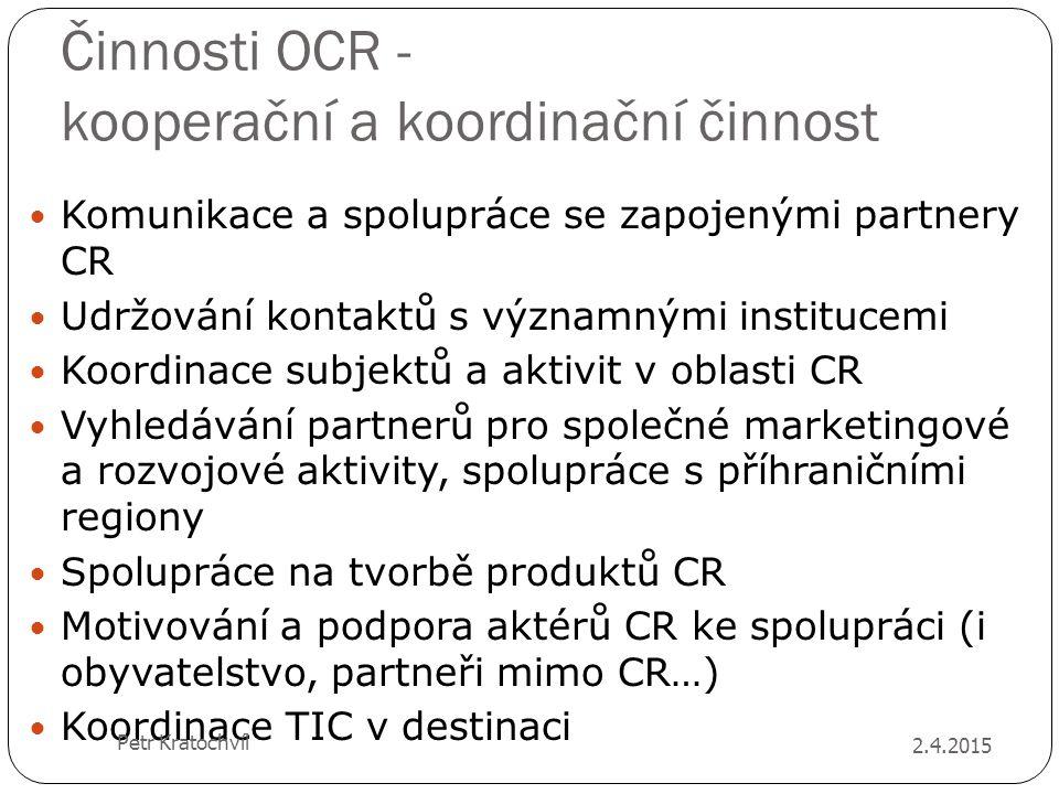 Činnosti OCR - kooperační a koordinační činnost Komunikace a spolupráce se zapojenými partnery CR Udržování kontaktů s významnými institucemi Koordina