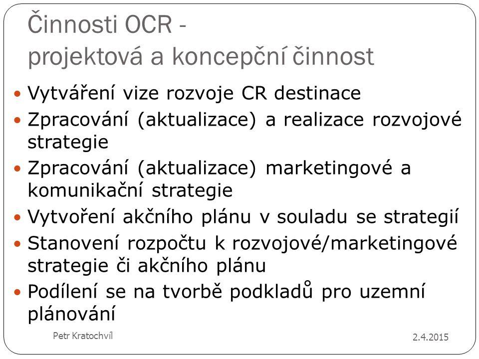 Činnosti OCR - projektová a koncepční činnost Vytváření vize rozvoje CR destinace Zpracování (aktualizace) a realizace rozvojové strategie Zpracování