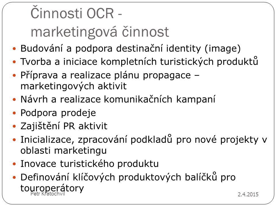 Činnosti OCR - marketingová činnost Budování a podpora destinační identity (image) Tvorba a iniciace kompletních turistických produktů Příprava a real