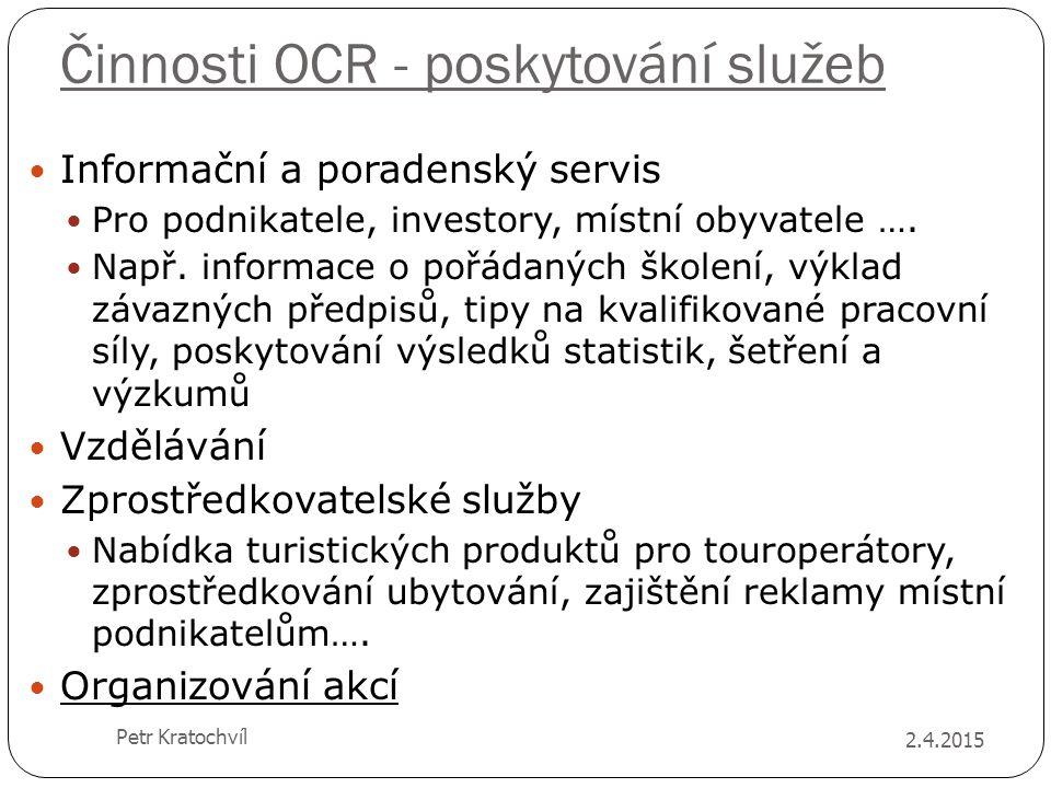 Činnosti OCR - poskytování služeb Informační a poradenský servis Pro podnikatele, investory, místní obyvatele …. Např. informace o pořádaných školení,