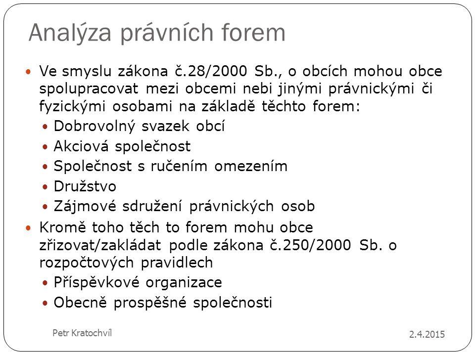 Analýza právních forem Ve smyslu zákona č.28/2000 Sb., o obcích mohou obce spolupracovat mezi obcemi nebi jinými právnickými či fyzickými osobami na z