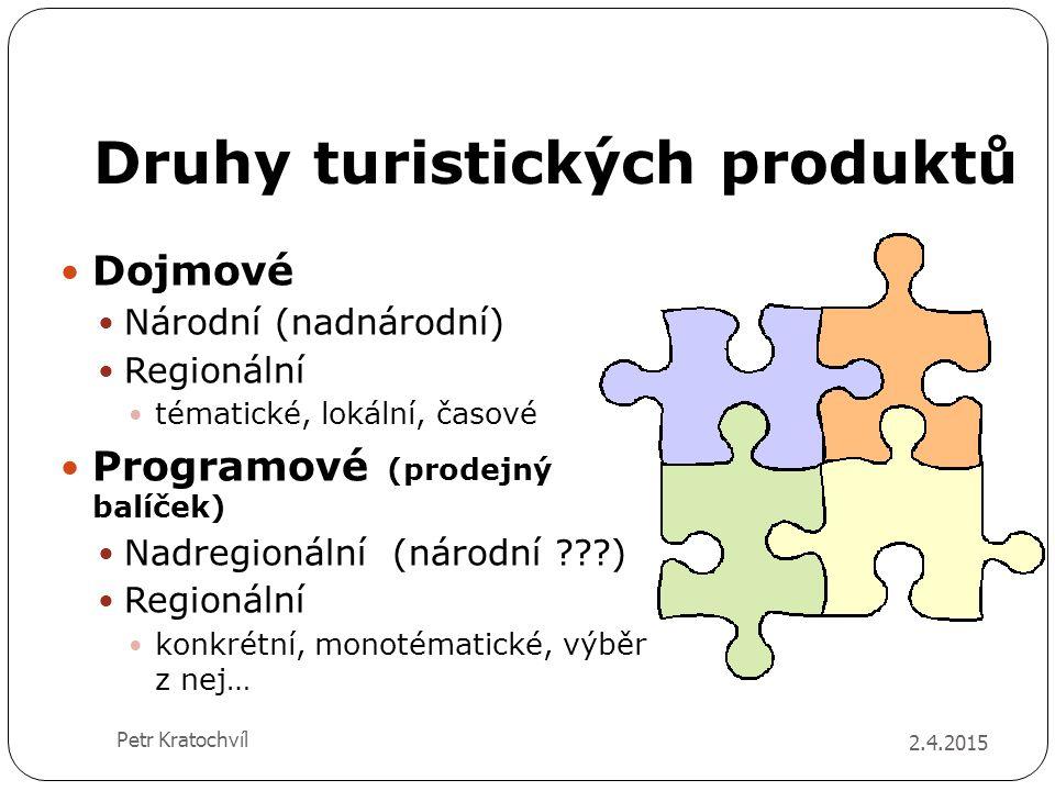 Druhy turistických produktů Dojmové Národní (nadnárodní) Regionální tématické, lokální, časové Programové (prodejný balíček) Nadregionální (národní ??