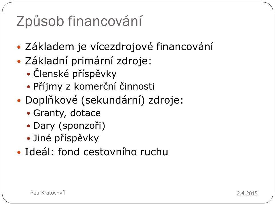 Způsob financování Základem je vícezdrojové financování Základní primární zdroje: Členské příspěvky Příjmy z komerční činnosti Doplňkové (sekundární)