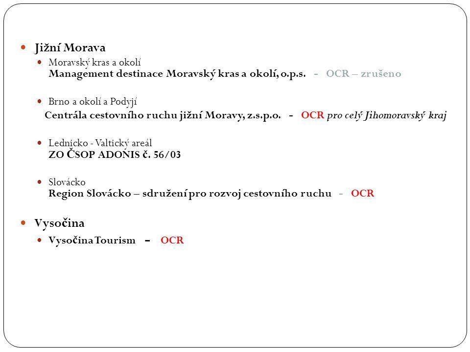 Jižní Morava Moravský kras a okolí Management destinace Moravský kras a okolí, o.p.s. - OCR – zrušeno Brno a okolí a Podyjí Centrála cestovního ruchu