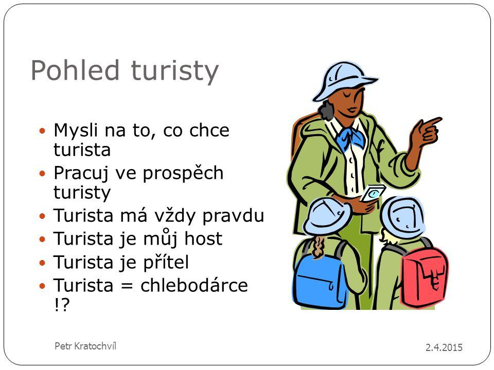 Pohled turisty Mysli na to, co chce turista Pracuj ve prospěch turisty Turista má vždy pravdu Turista je můj host Turista je přítel Turista = chlebodá