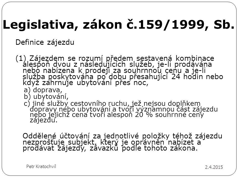 Legislativa, zákon č.159/1999, Sb. 2.4.2015 Petr Kratochvíl Definice zájezdu (1) Zájezdem se rozumí předem sestavená kombinace alespoň dvou z následuj