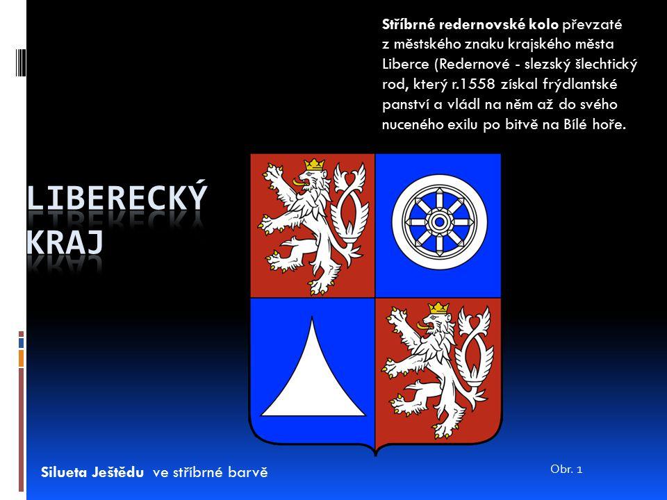 Stříbrné redernovské kolo převzaté z městského znaku krajského města Liberce (Redernové - slezský šlechtický rod, který r.1558 získal frýdlantské pans
