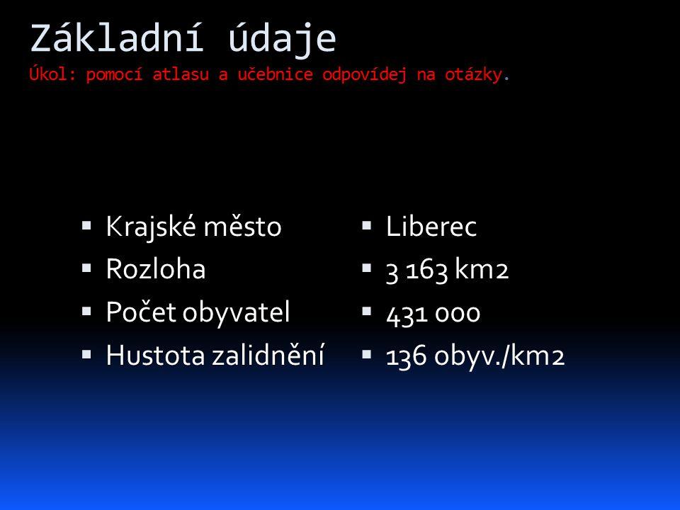 Základní údaje Úkol: pomocí atlasu a učebnice odpovídej na otázky.  Krajské město  Rozloha  Počet obyvatel  Hustota zalidnění  Liberec  3 163 km