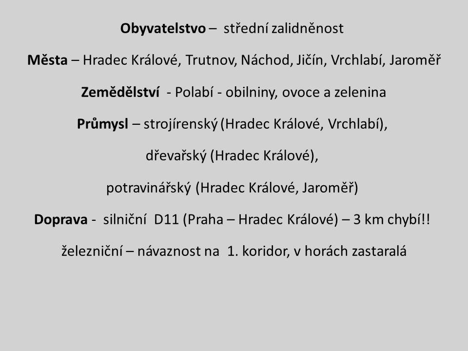 Obyvatelstvo – střední zalidněnost Města – Hradec Králové, Trutnov, Náchod, Jičín, Vrchlabí, Jaroměř Zemědělství - Polabí - obilniny, ovoce a zelenina Průmysl – strojírenský (Hradec Králové, Vrchlabí), dřevařský (Hradec Králové), potravinářský (Hradec Králové, Jaroměř) Doprava - silniční D11 (Praha – Hradec Králové) – 3 km chybí!.