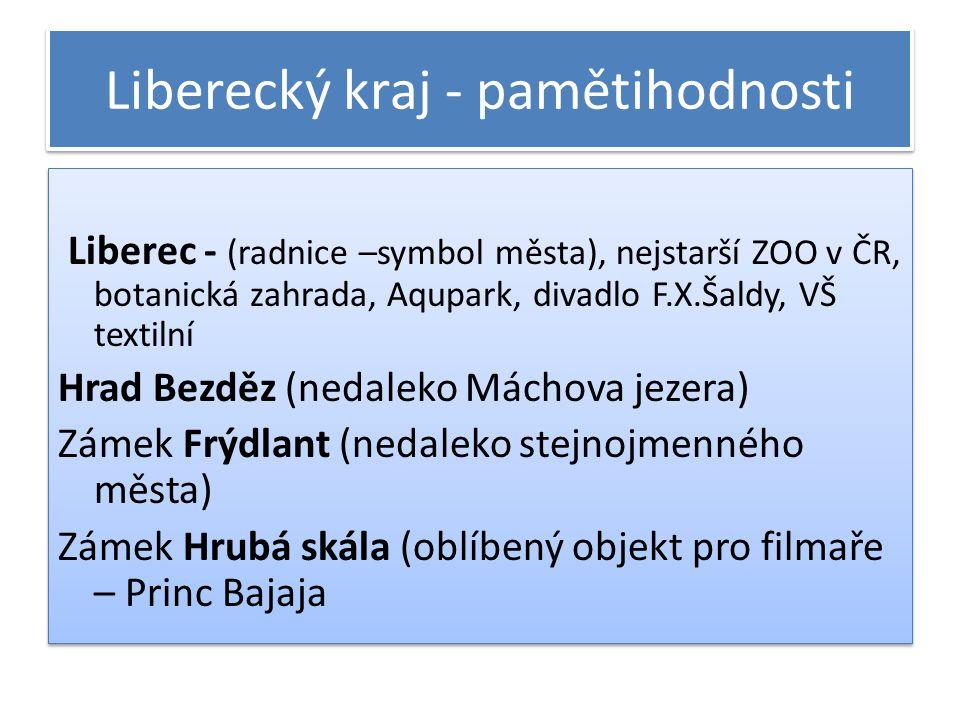 Liberecký kraj - pamětihodnosti Liberec - (radnice –symbol města), nejstarší ZOO v ČR, botanická zahrada, Aqupark, divadlo F.X.Šaldy, VŠ textilní Hrad