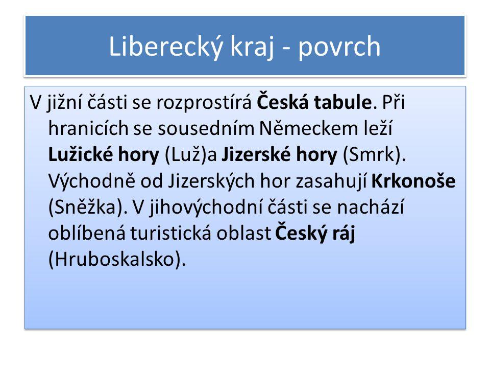 Liberecký kraj - povrch V jižní části se rozprostírá Česká tabule. Při hranicích se sousedním Německem leží Lužické hory (Luž)a Jizerské hory (Smrk).