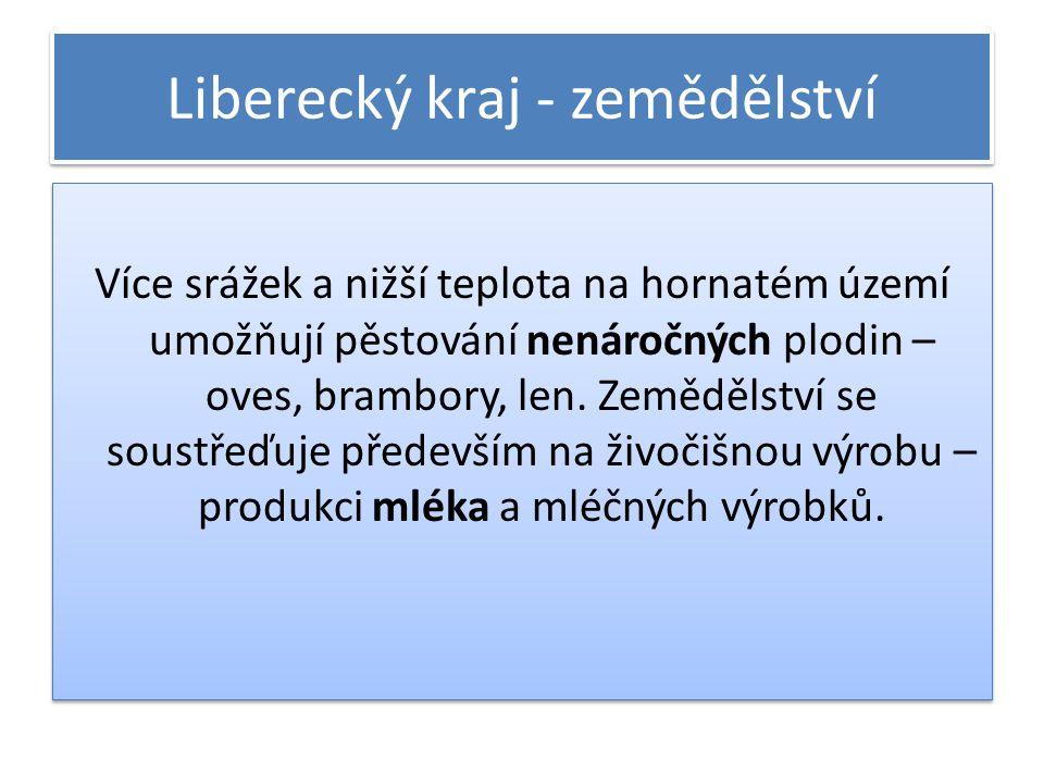Liberecký kraj - zemědělství Více srážek a nižší teplota na hornatém území umožňují pěstování nenáročných plodin – oves, brambory, len. Zemědělství se