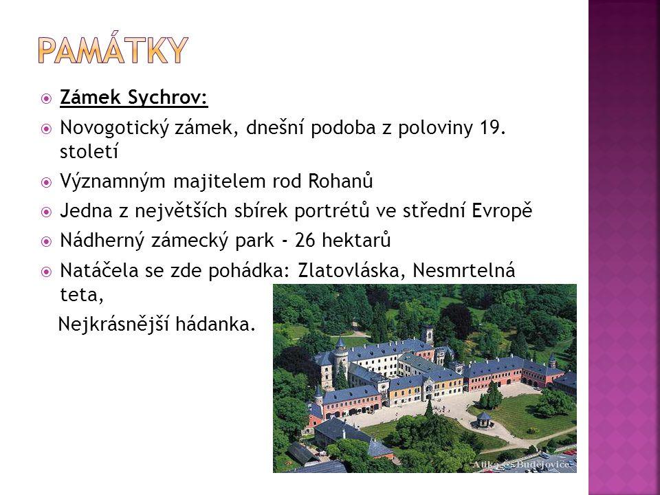  Zámek Sychrov:  Novogotický zámek, dnešní podoba z poloviny 19. století  Významným majitelem rod Rohanů  Jedna z největších sbírek portrétů ve st