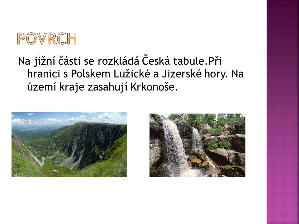 Na jižní části se rozkládá Česká tabule.Při hranici s Polskem Lužické a Jizerské hory. Na území kraje zasahují Krkonoše.