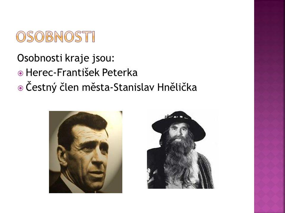 Osobnosti kraje jsou:  Herec-František Peterka  Čestný člen města-Stanislav Hnělička