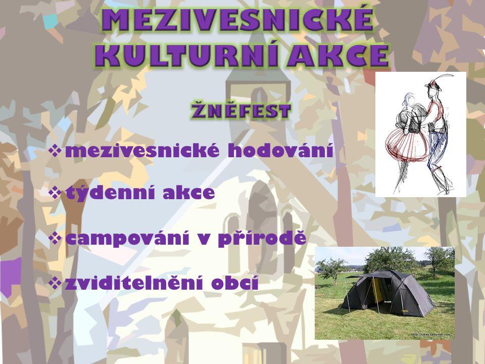  mezivesnické hodování  týdenní akce  campování v přírodě  zviditelnění obcí