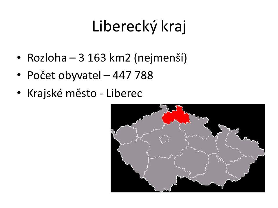 Liberecký kraj Rozloha – 3 163 km2 (nejmenší) Počet obyvatel – 447 788 Krajské město - Liberec