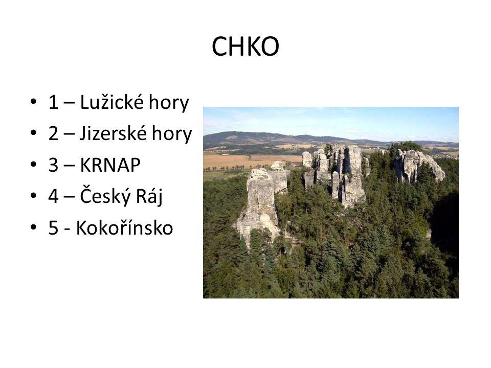 CHKO 1 – Lužické hory 2 – Jizerské hory 3 – KRNAP 4 – Český Ráj 5 - Kokořínsko