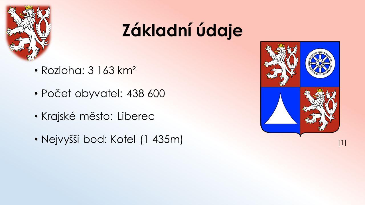 Základní údaje Rozloha: 3 163 km² Počet obyvatel: 438 600 Krajské město: Liberec Nejvyšší bod: Kotel (1 435m) [1][1]