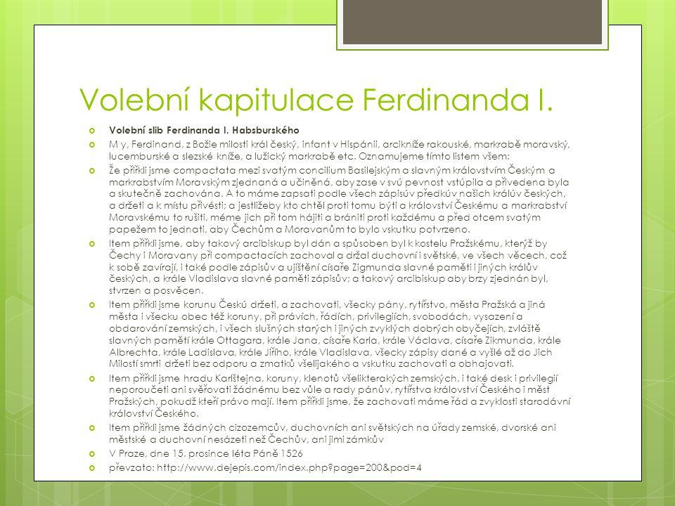 Volební kapitulace Ferdinanda I. Volební slib Ferdinanda I.