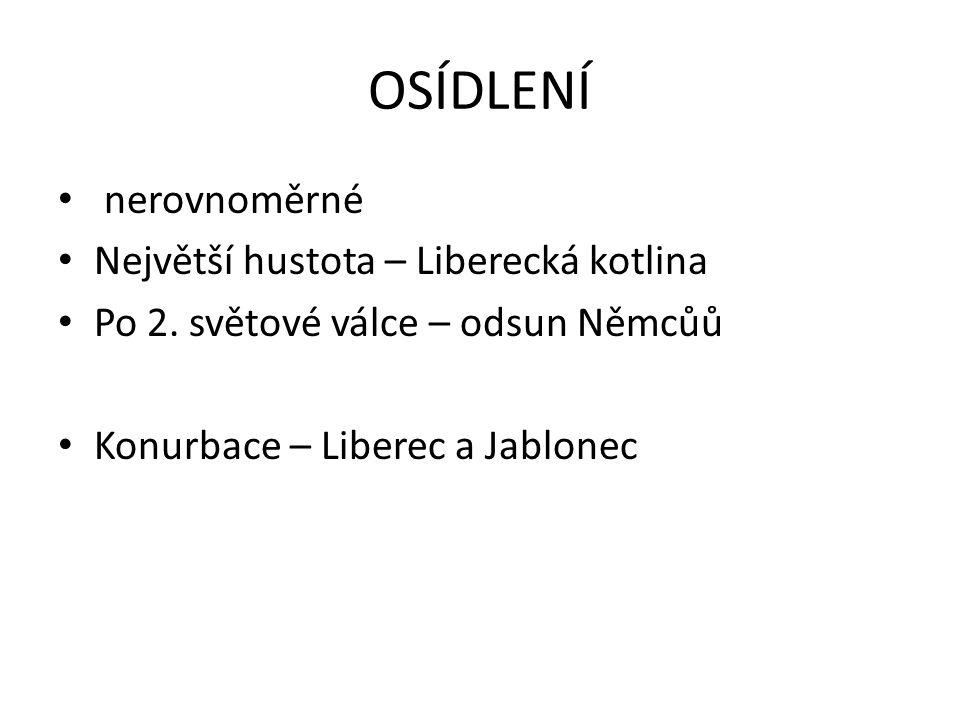 OSÍDLENÍ nerovnoměrné Největší hustota – Liberecká kotlina Po 2. světové válce – odsun Němcůů Konurbace – Liberec a Jablonec