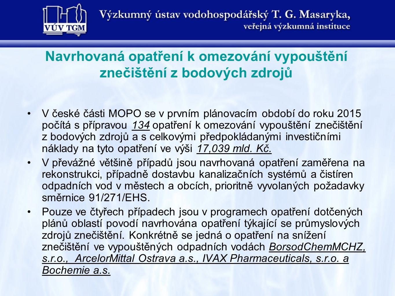 V české části MOPO se v prvním plánovacím období do roku 2015 počítá s přípravou 134 opatření k omezování vypouštění znečištění z bodových zdrojů a s celkovými předpokládanými investičními náklady na tyto opatření ve výši 17,039 mld.