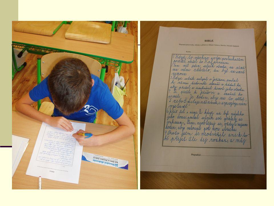 POCITY PSP HOLKOVICE PŘI PŘEPISU Všichni žáci se moc snažili, aby neudělali v textu hrubku a aby jejich písmo bylo přitom i úhledné.