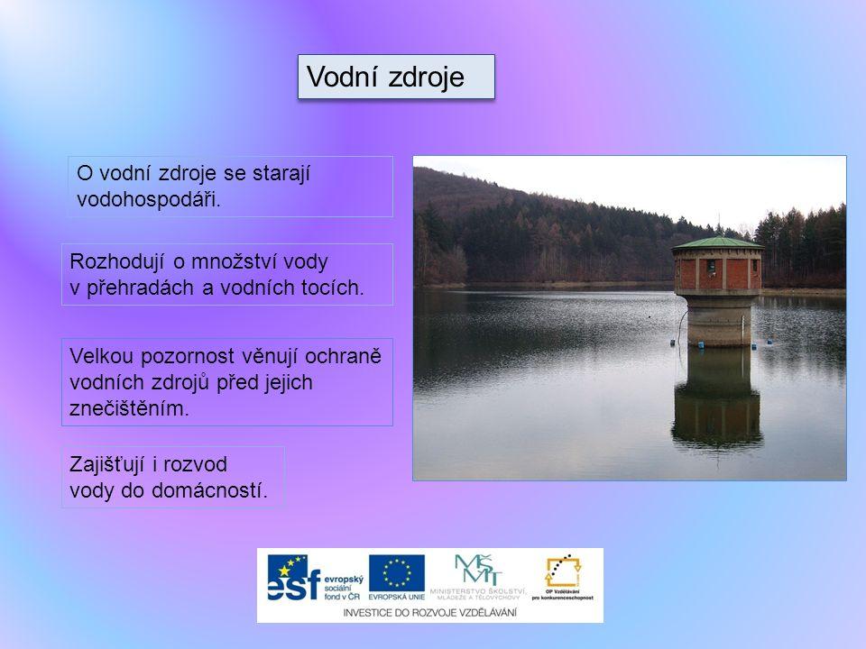 Vodní zdroje O vodní zdroje se starají vodohospodáři. Rozhodují o množství vody v přehradách a vodních tocích. Velkou pozornost věnují ochraně vodních