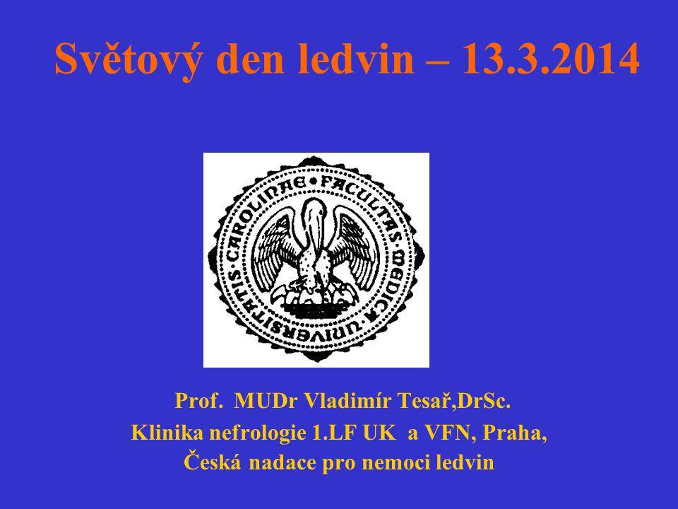 Světový den ledvin – 13.3.2014 Prof. MUDr Vladimír Tesař,DrSc. Klinika nefrologie 1.LF UK a VFN, Praha, Česká nadace pro nemoci ledvin