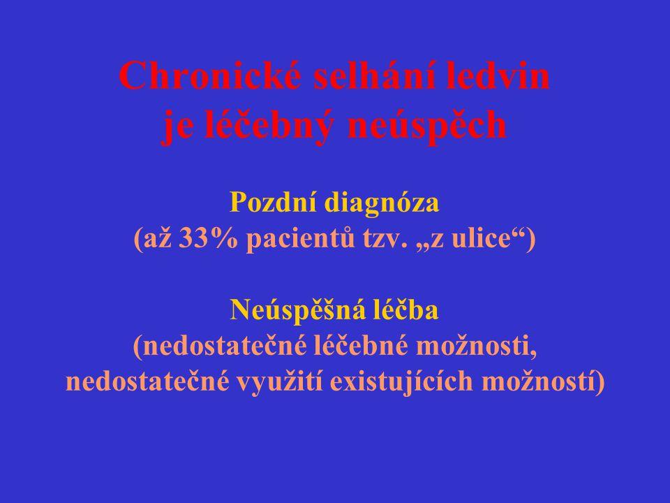"""Chronické selhání ledvin je léčebný neúspěch Pozdní diagnóza (až 33% pacientů tzv. """"z ulice"""") Neúspěšná léčba (nedostatečné léčebné možnosti, nedostat"""