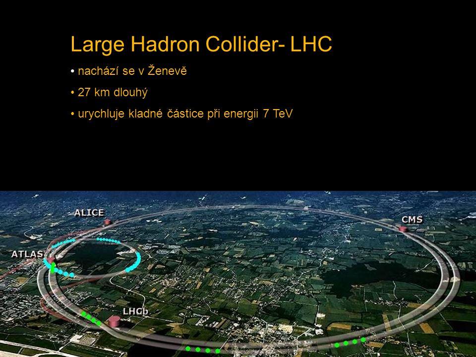 Large Hadron Collider- LHC nachází se v Ženevě 27 km dlouhý urychluje kladné částice při energii 7 TeV