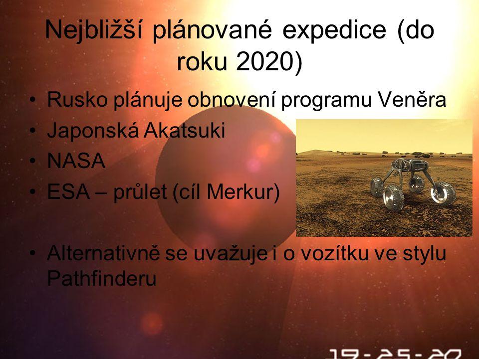 Nejbližší plánované expedice (do roku 2020) Rusko plánuje obnovení programu Veněra Japonská Akatsuki NASA ESA – průlet (cíl Merkur) Alternativně se uvažuje i o vozítku ve stylu Pathfinderu
